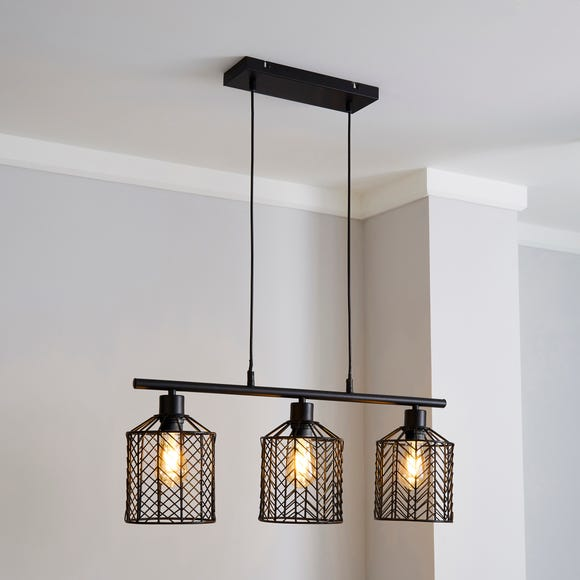 Sienna 3 Light Diner Ceiling Fitting Black