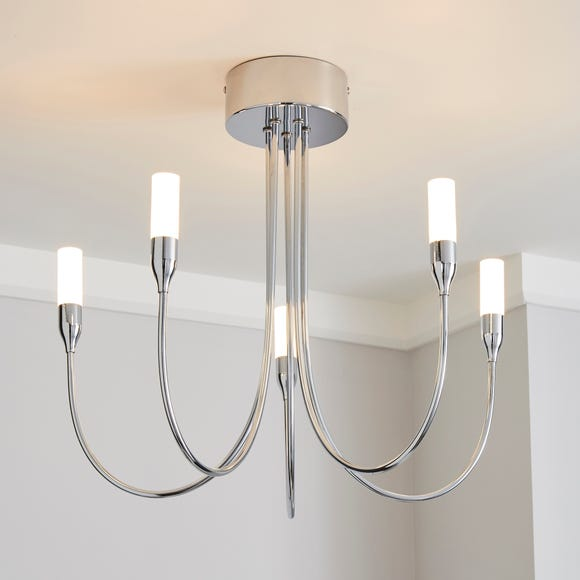 Affric 5 Light LED Tipped Chrome Chandelier Silver