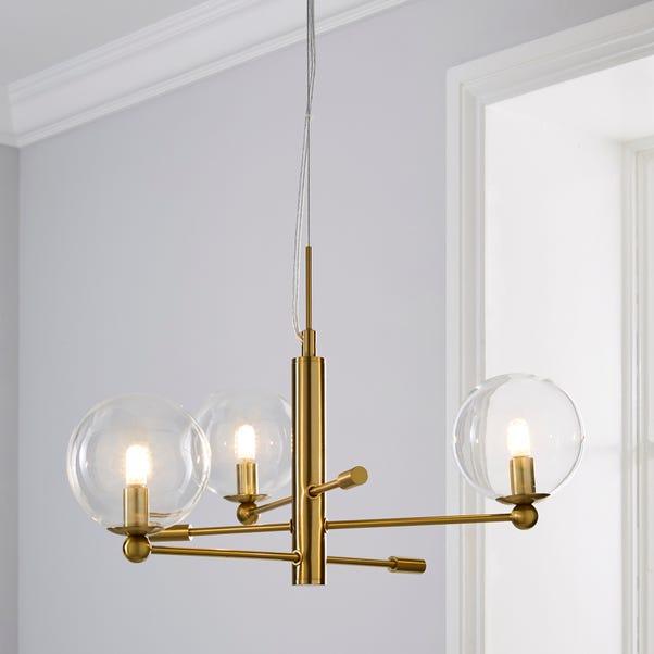 Nour 3 Light Antique Brass Ceiling Fitting Gold