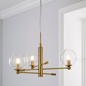 Nour 3 Light Antique Brass Ceiling Fitting