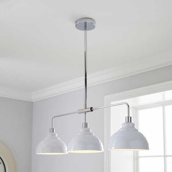 Galley 3 Light Bar White Diner Ceiling Fitting White