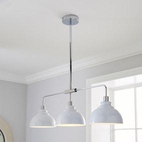 Galley 3 Light Bar White Diner Ceiling Fitting