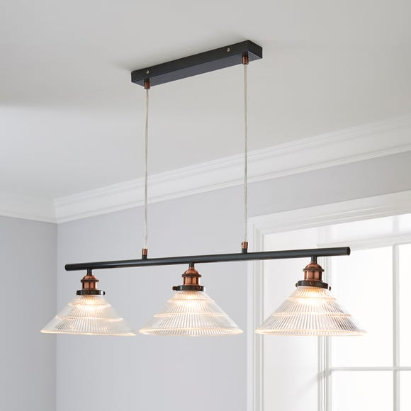 Logan 3 Light Bar Glass Diner Industrial Ceiling Fitting Clear