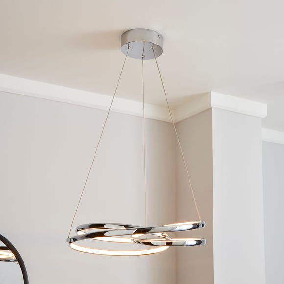 Lasse 1 Light Integrated LED Spiral Ceiling Fitting Silver