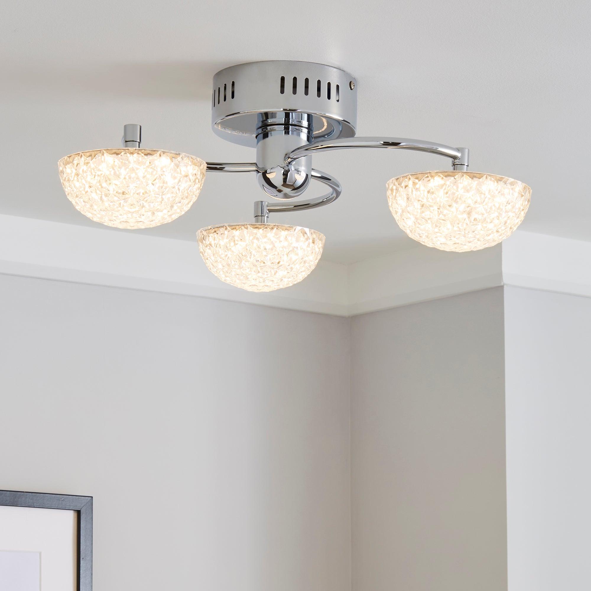 Dunelm Brodie 3 Light LED Chrome Semi-Flush Ceiling Fitting Chrome