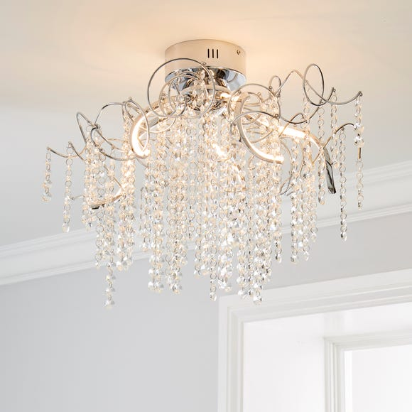 Timah 4 Light LED Jewel Ceiling Fitting Silver