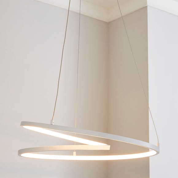 Menton Integrated LED Swirl White Ceiling Fitting White