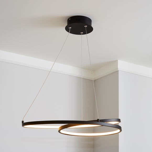 Menton Integrated LED Swirl Black Ceiling Fitting Black