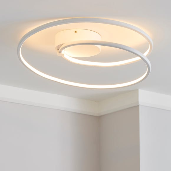 Menton Integrated LED Swirl White Semi-Flush Ceiling Fitting White