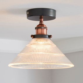 Logan 1 Light Pendant Glass Industrial Semi-Flush Ceiling Fitting