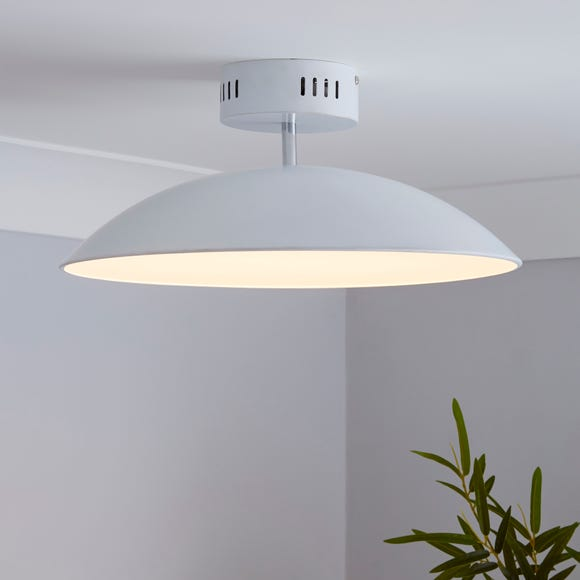 Usk White Semi-Flush Ceiling Fitting White