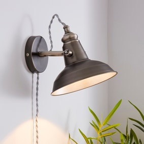 Lucas Industrial Easy Fit Plug In Wall Light Pewter