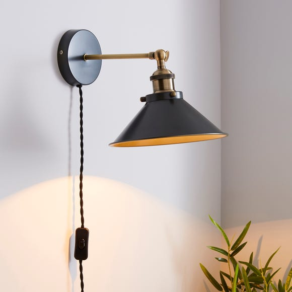Logan Grey Industrial Easy Fit Plug In Wall Light Grey