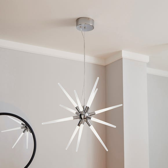 Liard 9 Light Pendant Integrated LED Star Ceiling Fitting Silver