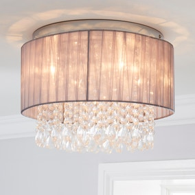 Riah 1 Light Jewels Shade Grey Flush Ceiling Fitting