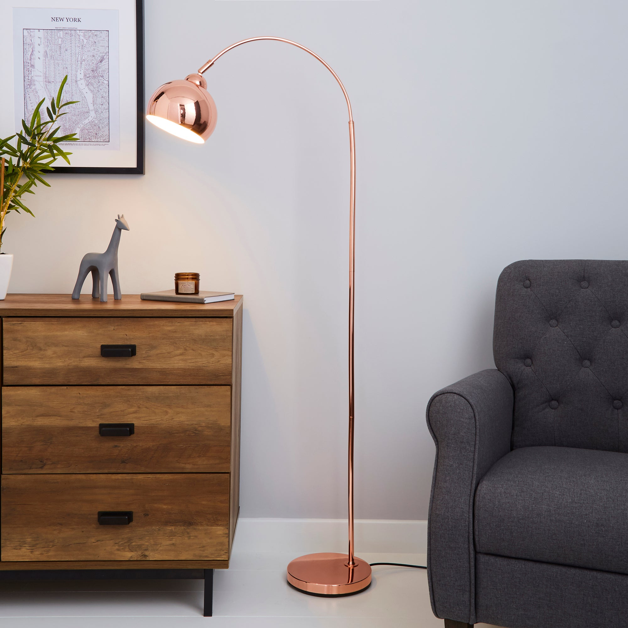 Herm Arc Copper Floor Lamp Pink and Brown