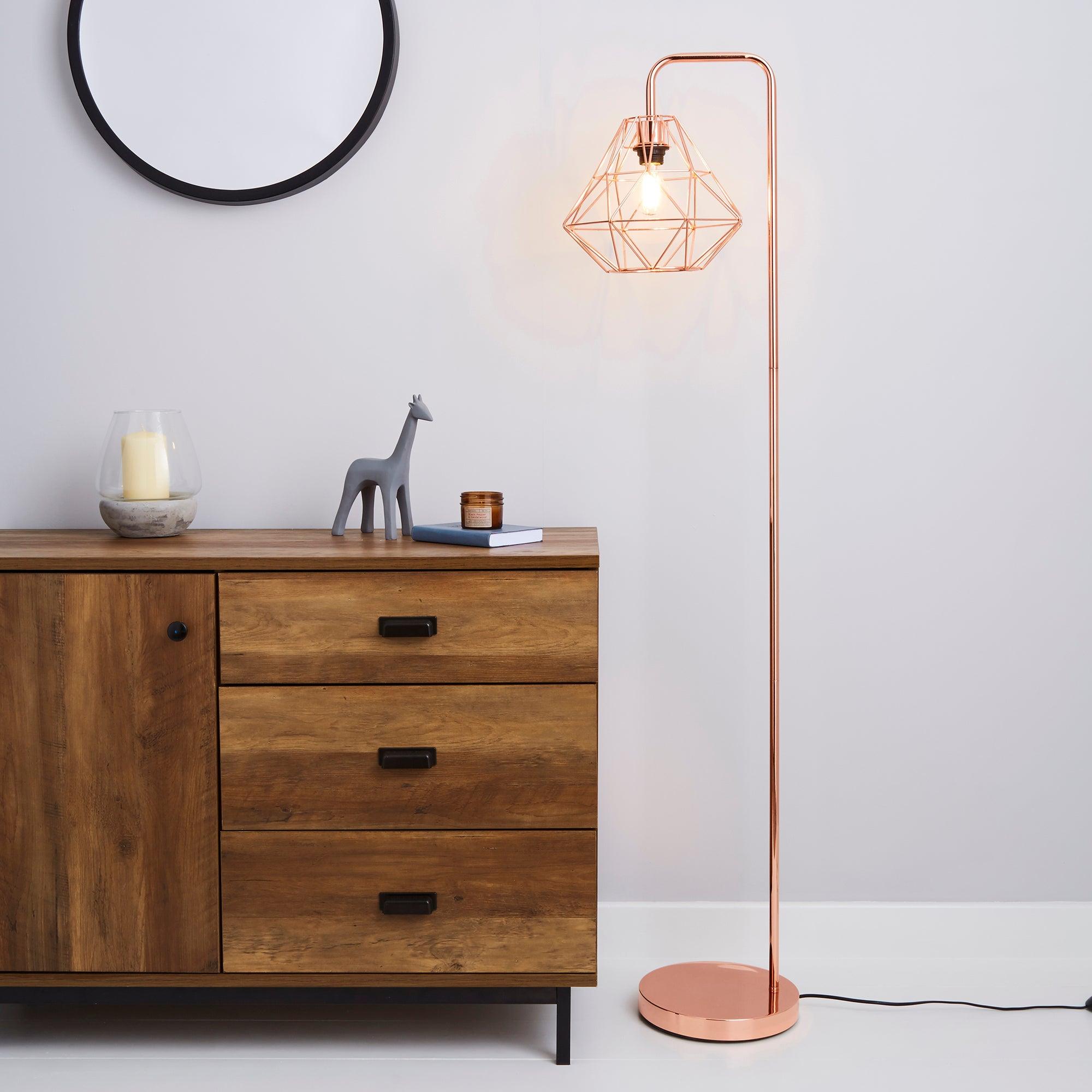 Bremen Copper Floor Lamp Pink and Brown