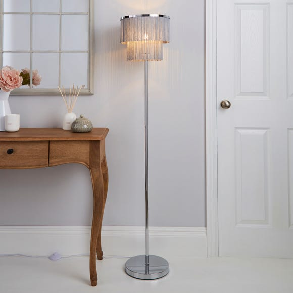 Jaz Fringe Grey Floor Lamp Grey