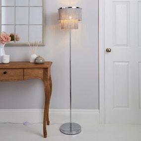 Jaz Fringe Grey Floor Lamp