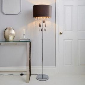 Halle French Velvet Jewel Charcoal Floor Lamp