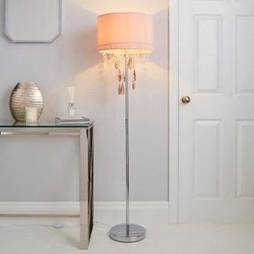 Halle French Velvet Jewel Blush Pink Floor Lamp
