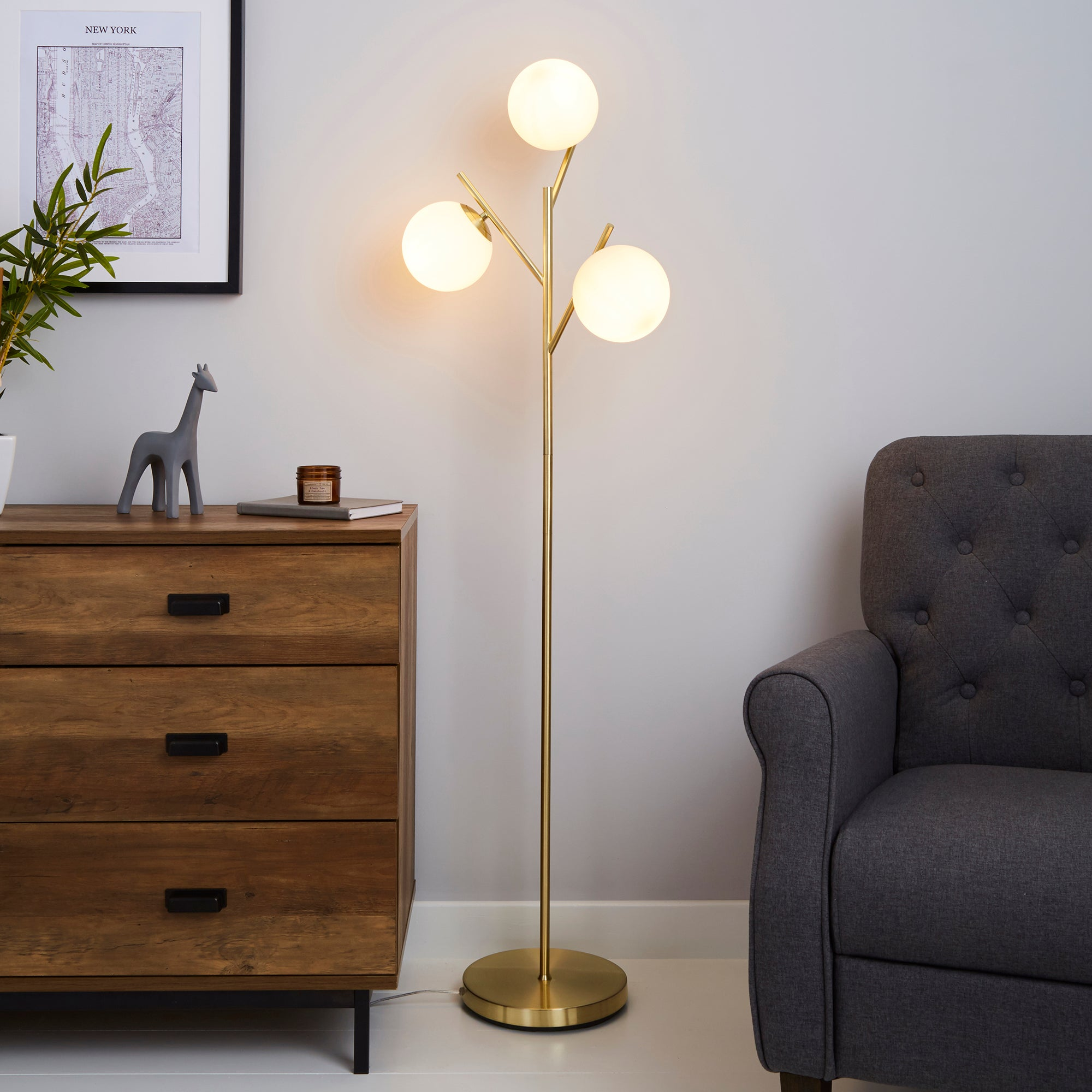 Eniola Frosted White Glass Ball Gold Floor Lamp Gold