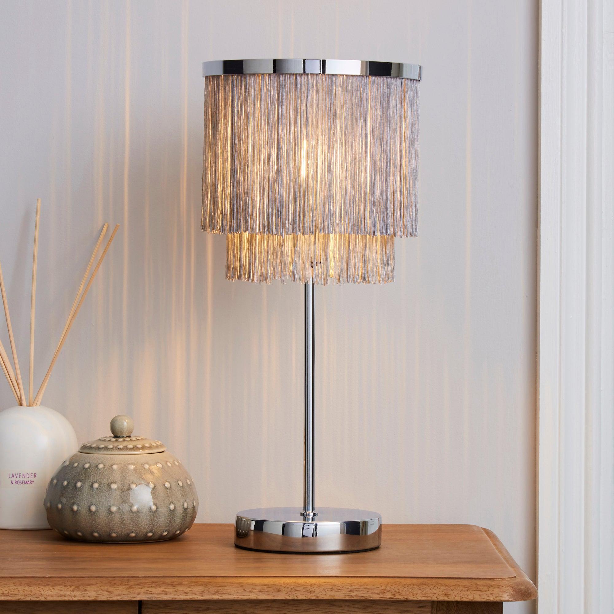 Jaz Fringe Grey Table Lamp Grey and Silver