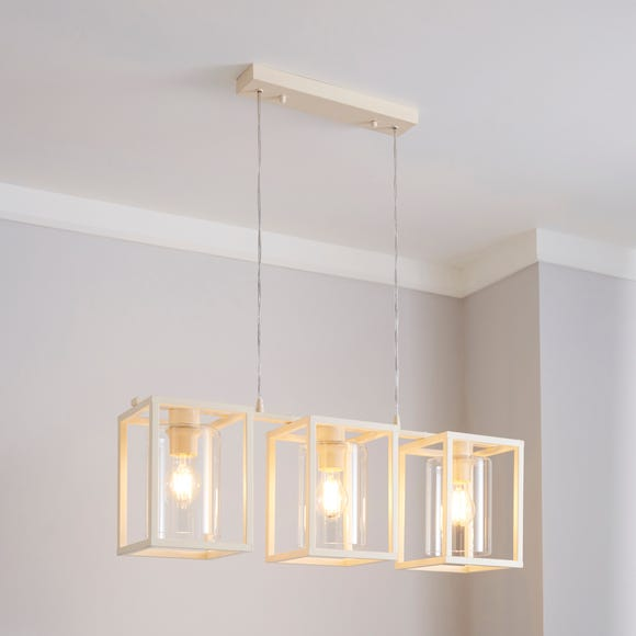 London 3 Light Cream Industrial Diner Ceiling Fitting Ivory