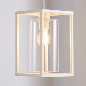 London 1 Light Pendant Cream Industrial Ceiling Fitting