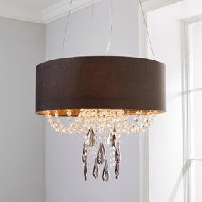 Halle 3 Light Jewel Shaded Charcoal Ceiling Fitting