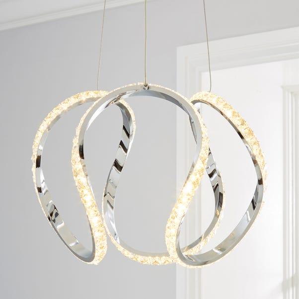 Marsia 1 Light Integrated LED Swirl Jewel Chrome Ceiling Fitting Chrome