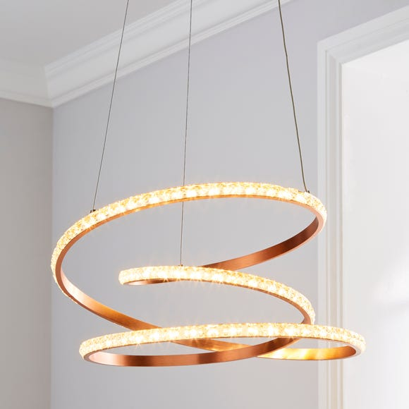 Cali Integrated LED Swirl Crystal Rose Gold Ceiling Fitting Rose Gold