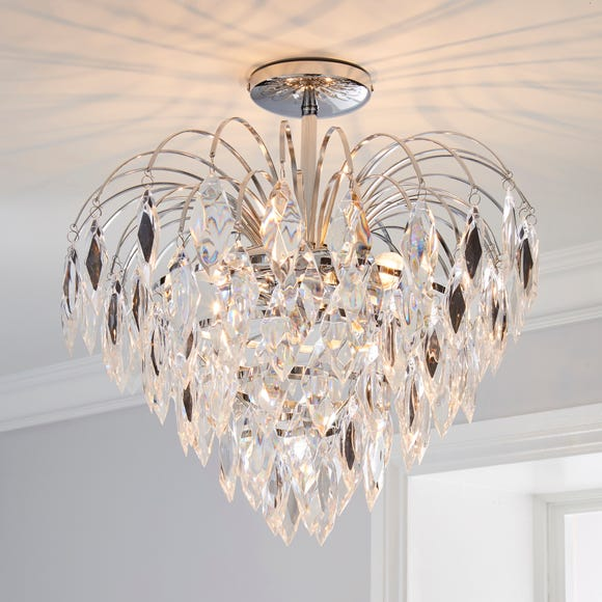 Parla 1 Light Jewels Semi-Flush Ceiling Fitting Chrome