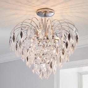 Parla 1 Light Jewels Semi-Flush Ceiling Fitting