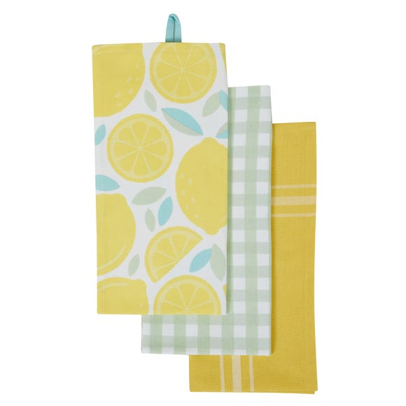 Pack of 3 Candy Rose Tea Towels Yellow