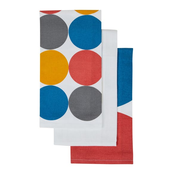 Pack of 3 Elements Spot Tea Towels MultiColoured