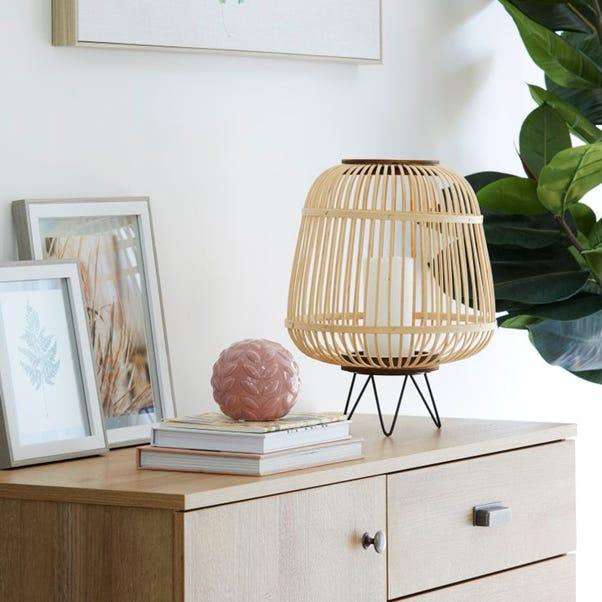 Large Bamboo Lantern with Hairpin Legs Natural
