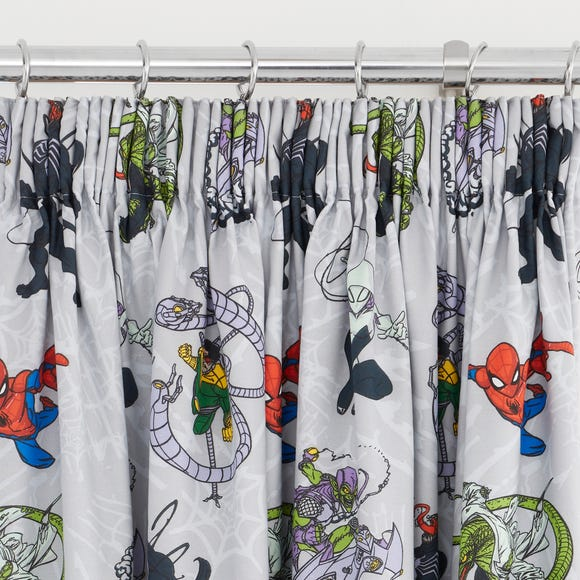 Disney Marvel Spider-Man Pencil Pleat Blackout Curtains Grey undefined