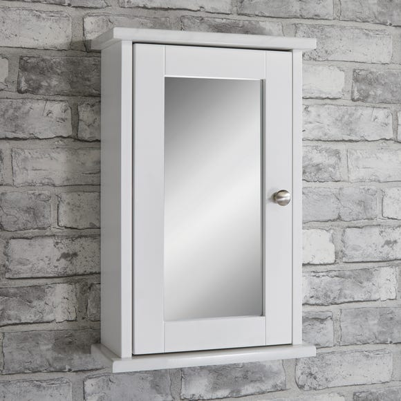 Marble Effect Mirrored Single Door Cabinet White