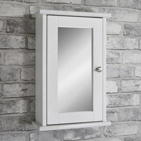 Marble Effect Mirrored Single Door Cabinet