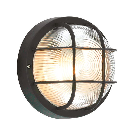 Coast Mars Round Bulkhead Outdoor Wall Light Black Black