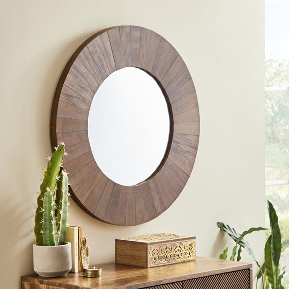 Anya Round Wall Mirror 70cm Brown Brown