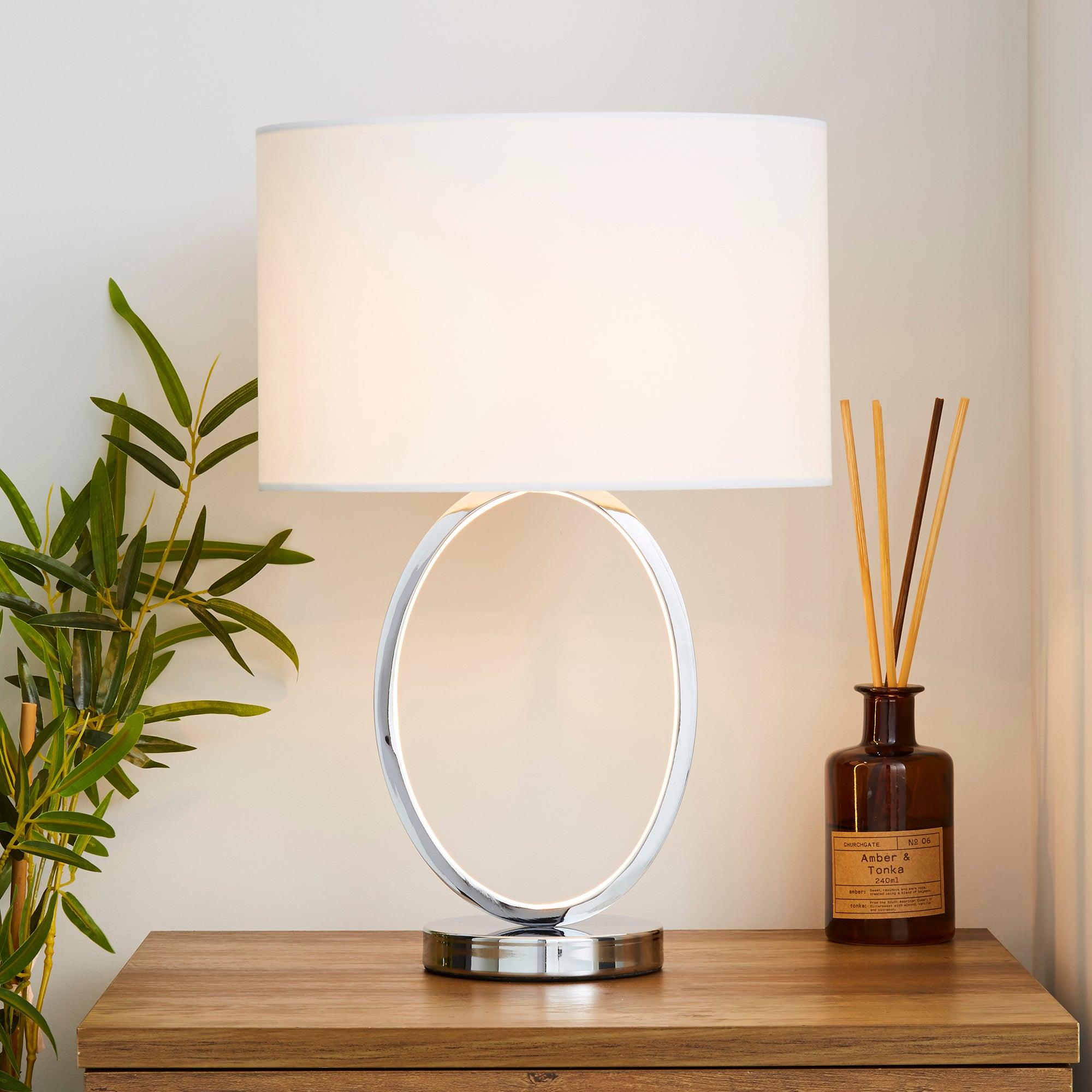 Talinn Dual Lit Integrated LED Chrome Table Lamp Chrome