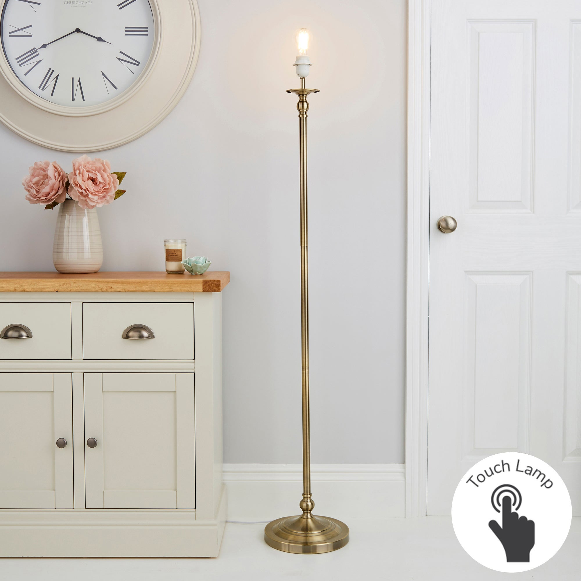 Irene Touch Dimmable Antique Brass Floor Lamp Base Brass