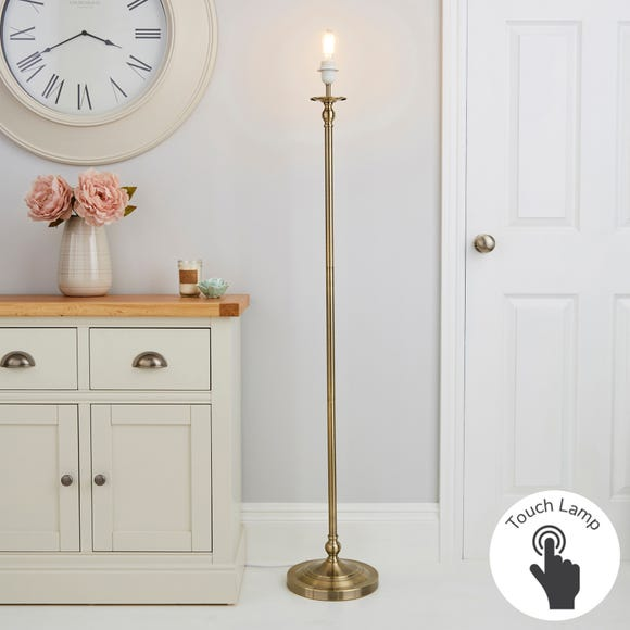 Irene Touch Dimmable Antique Brass Floor Lamp Base Silver