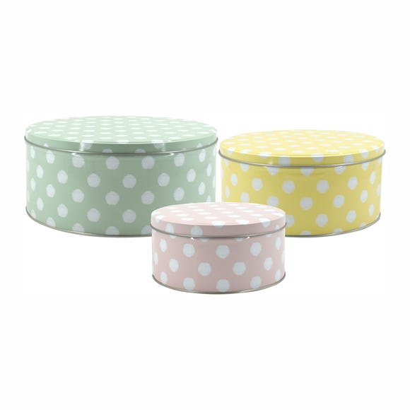Set of 3 Pastel Polka Dot Cake Storage Tins MultiColoured