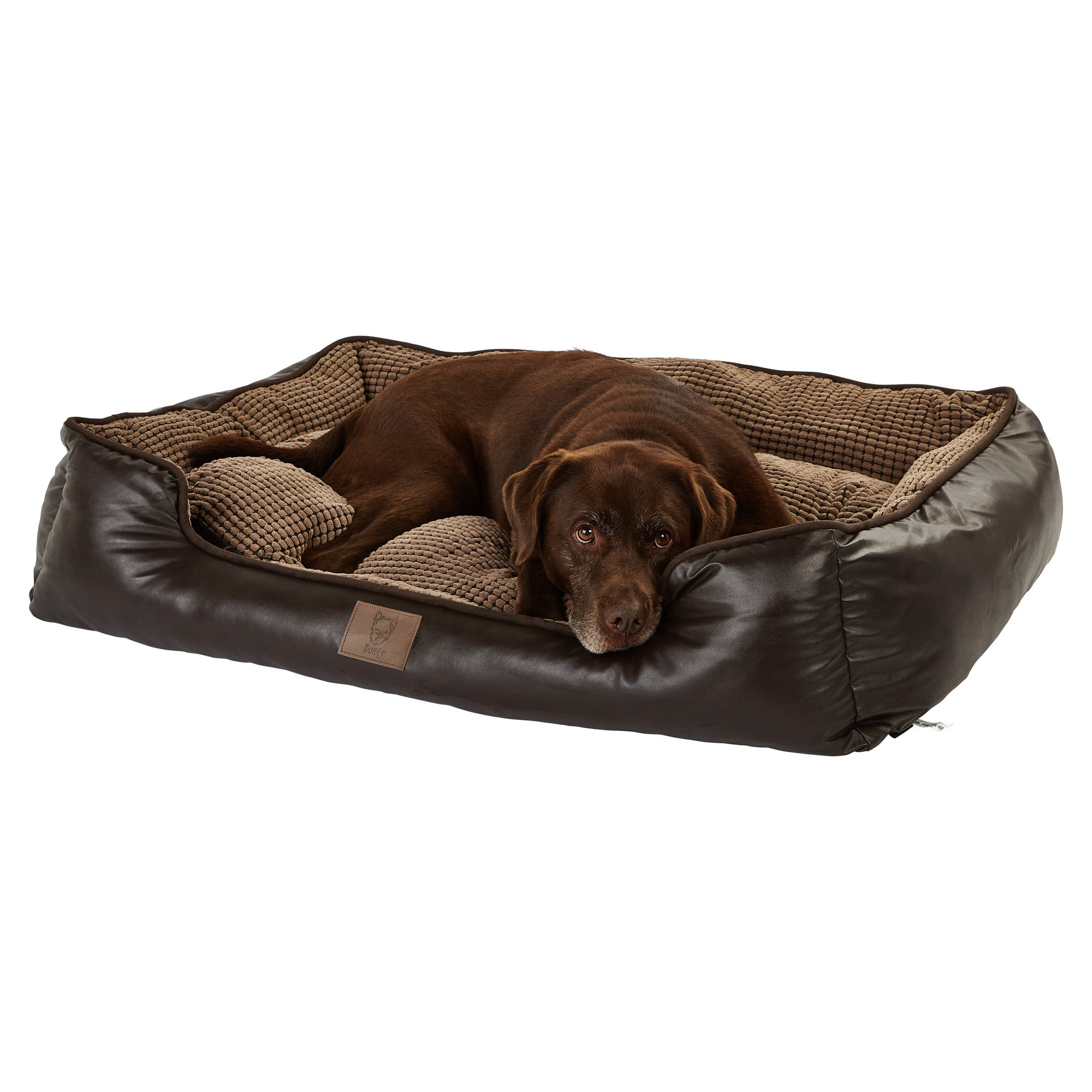 Bunty Brown Tuscan Faux Leather Dog Bed Brown