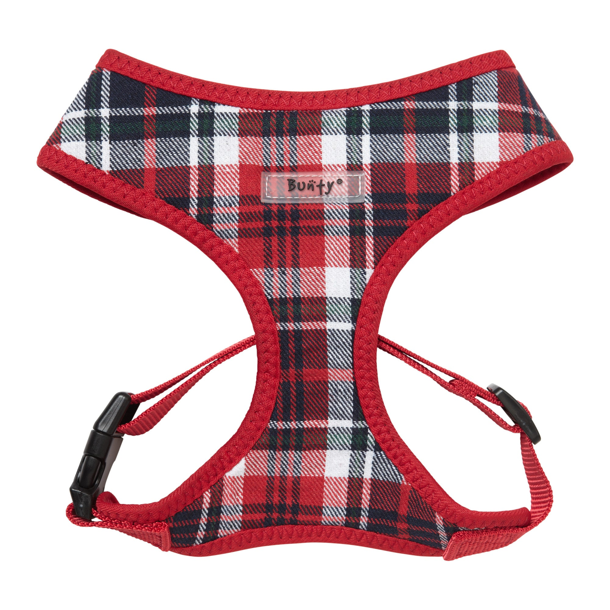 Bunty Tartan Mesh Dog Harness Red, White and Green
