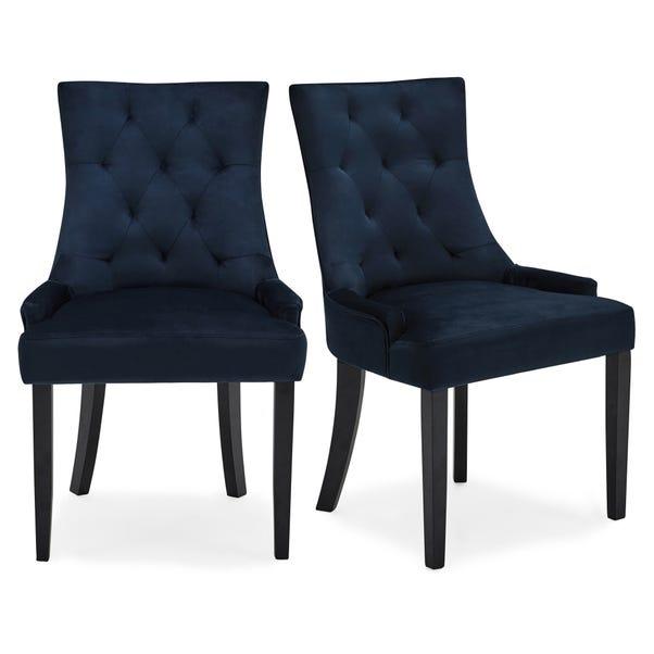 Regent Set of 2 Dining Chairs Ink Velvet