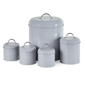 5 Piece Grey Kitchen Canister Set